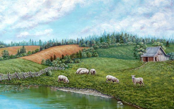 Sheep on the hillside